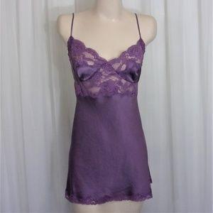 Victoria's Secret SILK Lavender Nightgown Lace L